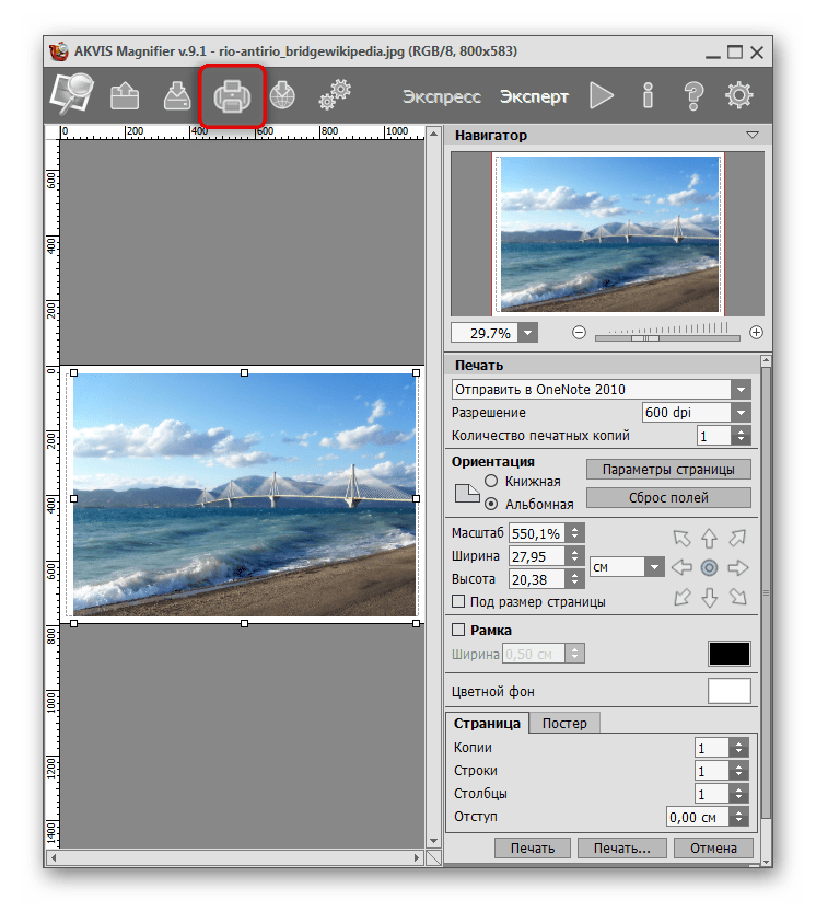 Печать и предварительная настройка изображения в AKVIS Magnifier