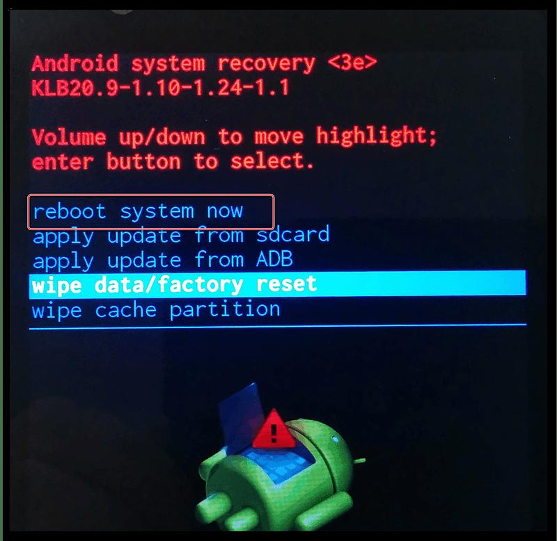 Перезагрузка Android через BIOS