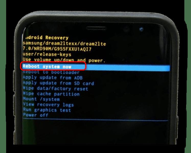 Перезагрузка после очистки в Recovery в смартфоне Samsung