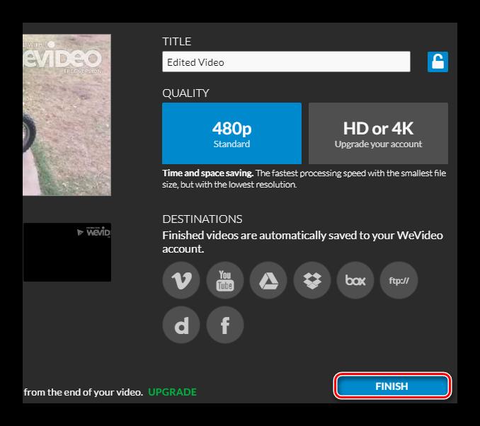 Подготовка видео к экспорту в WeVideo