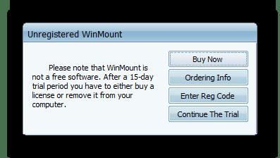 Предупреждение о пробной версии WinMount