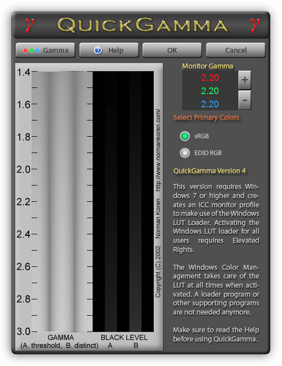 Программа для калибровки монитора QuickGamma