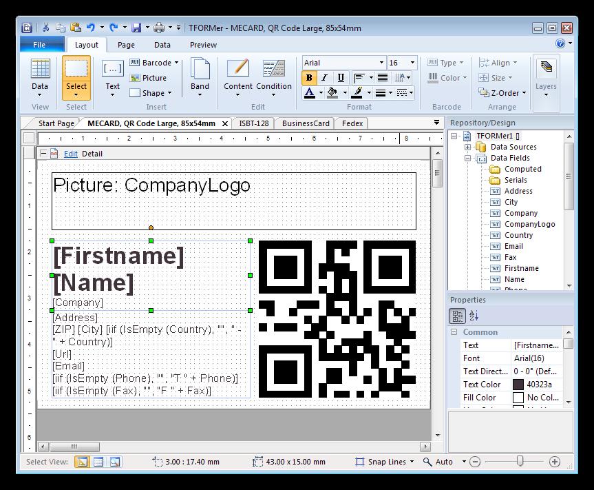 Программа для создания этикеток TFORMer Designer