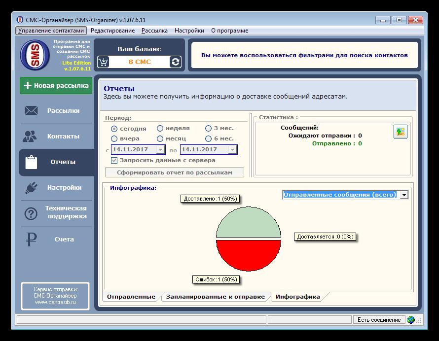 Просмотр статистических данных в программе SMS-Organizer