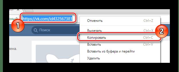 Процесс копирования URL адреса удаленной страницы пользователя из адресной строки браузера