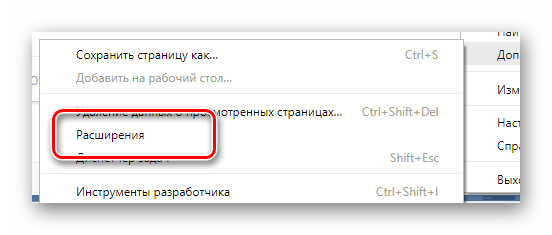 Процесс перехода к разделу Расширения через главное меню в интернет обозревателе Google Chrome