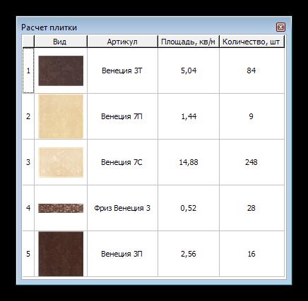 Расчет количества плитки в программе Ceramic 3D