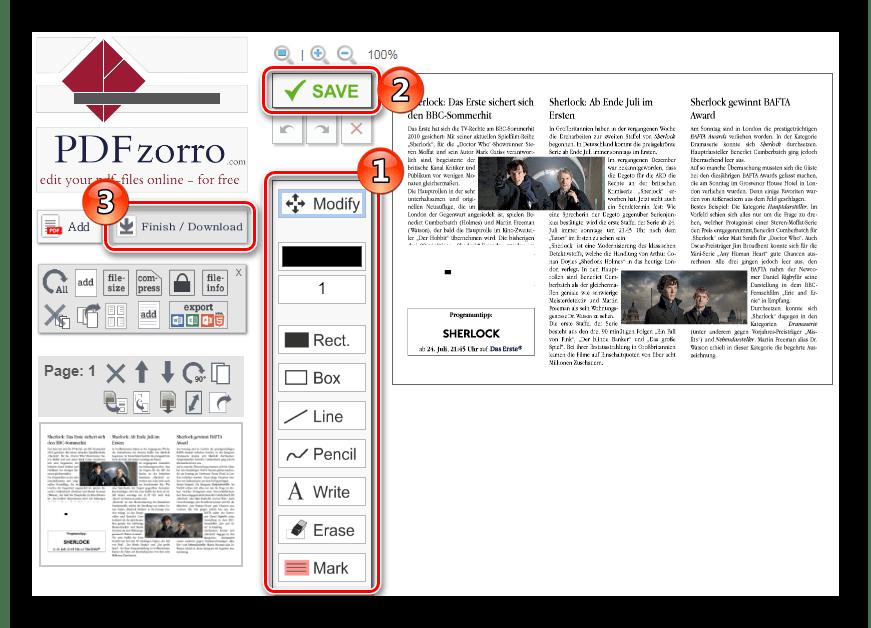Редактирование документа Онлайн-сервис PdfZorro