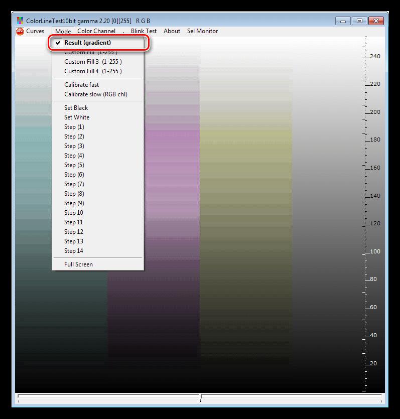 Режим отображения результатов настройки монитора в программе CLTest