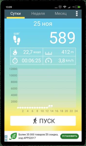 Шагомер на Андроид