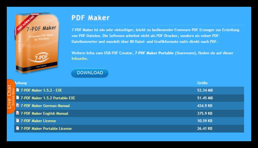 Скачивание программы 7-PDF Maker со страницы на официальном сайте разработчиков
