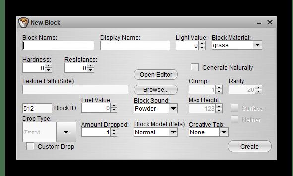 Создание нового блока Linkseyi`s Mod Maker