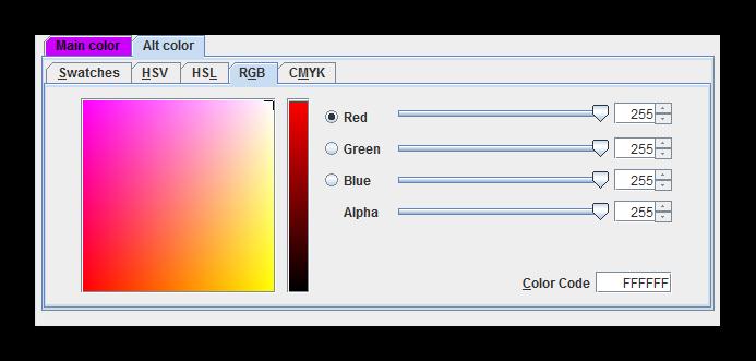 Цветовая палитра SkinEdit
