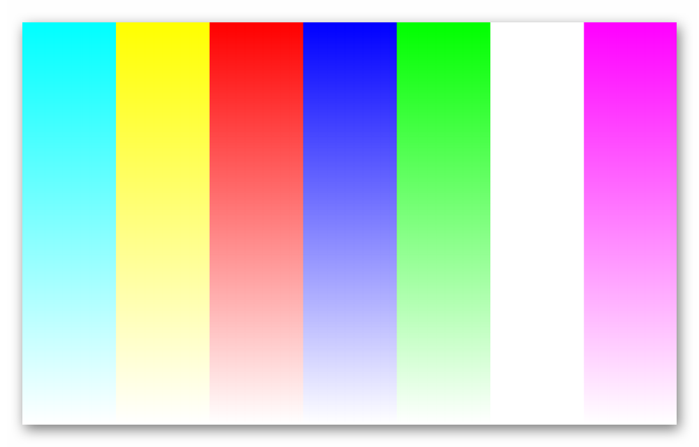 Цветовая проверка, заключающаяся в заполнении экрана полосами основных цветов в Dead Pixel Tester