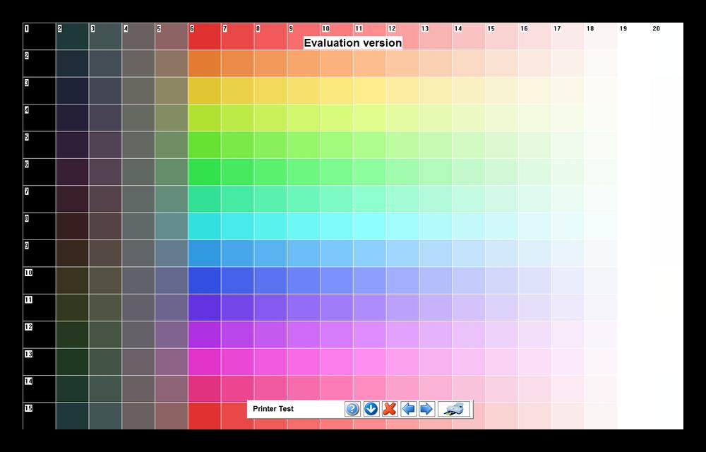 Тестирование отображения цветов путем размещения на экране основных цветов и их оттенкров в PassMark MonitorTest