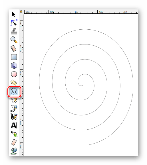 Включаем инструмент Спирали в Inkscape