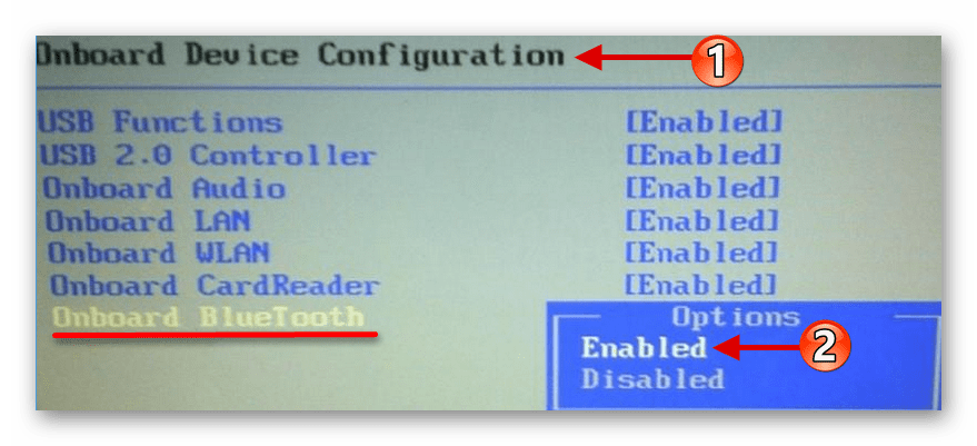 Включения Bluetooth при помощи BIOS в Windows 10