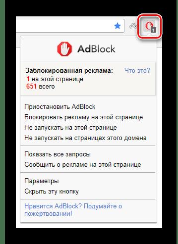 Внешний вид интерфейса AdBlock