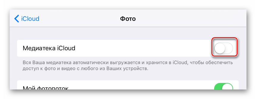 Возможность активации медиатеки iCloud в мобильном приложении iCloud