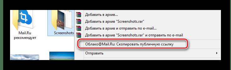 Возможность копирования ссылки на файл в программе Облако Mail.ru