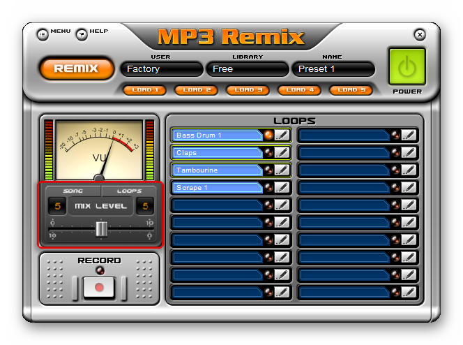 Настройка баланса громкости между музыкальной композицией и эффектами в MP3 Remix
