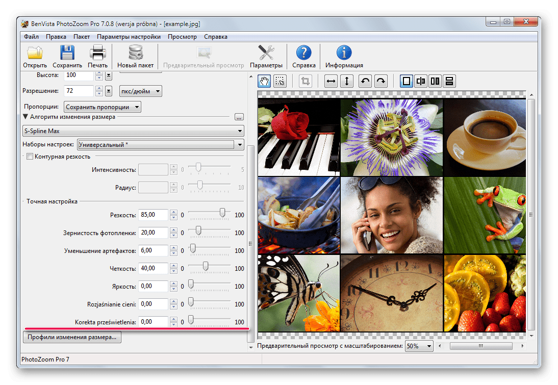 Возможность ручной настройки изменения размеров изображений в Benvista PhotoZoom Pro