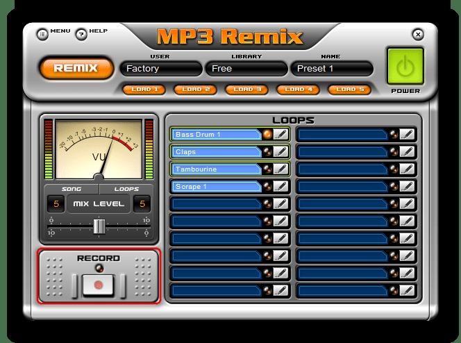 Возможность записи готового ремикса музыкальной композиции в MP3 Remix