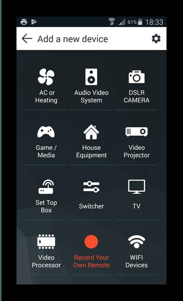 Возможности добавления устройств в приложении AnyMote Universal Remote