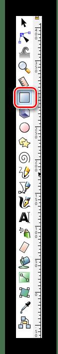 Выбираем инструмент прямоугольники и квадраты в Inkscape