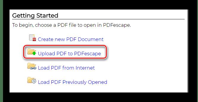 Выбор варианта загрузки документа Онлайн-сервис PDFEscape