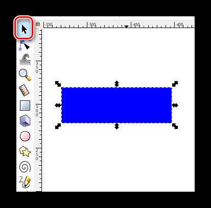 Выделяем объект в Inkscape