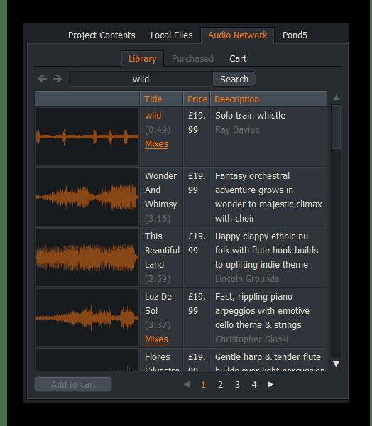 Загрузка аудио Lightworks