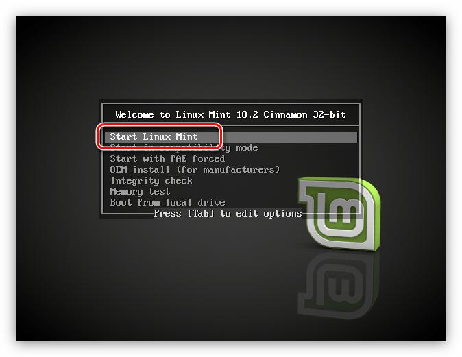 главное меню установщика linux mint