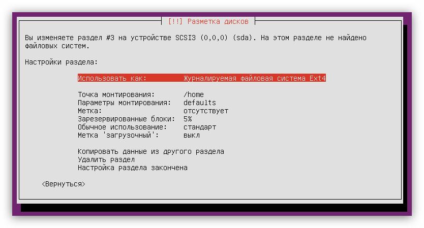 пример настройки домашнего раздела при установке Ubuntu server
