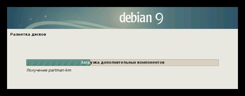 загрузка программы для разметке дисков при установке debian 9
