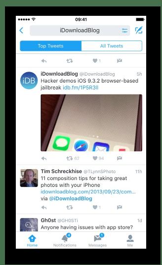 Главные твиты в клиенте Twitter для iphone