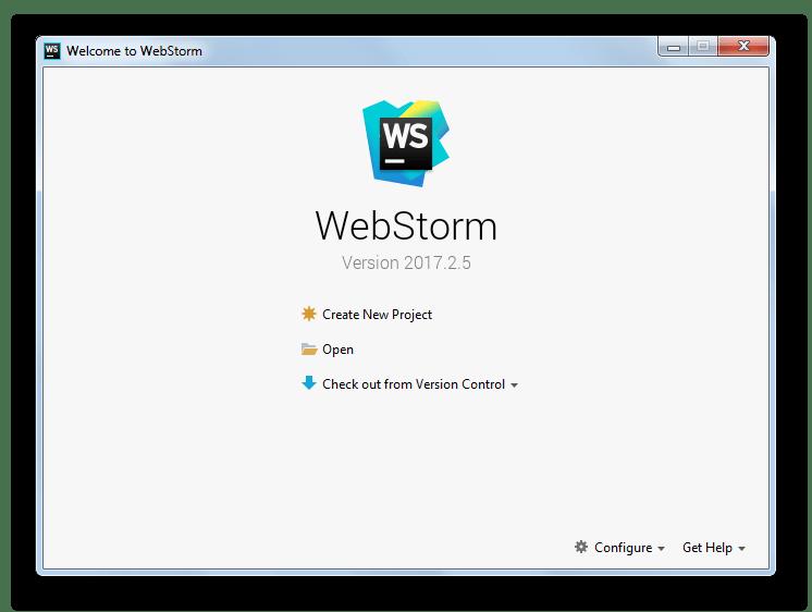Интерфейс программы WebStorm