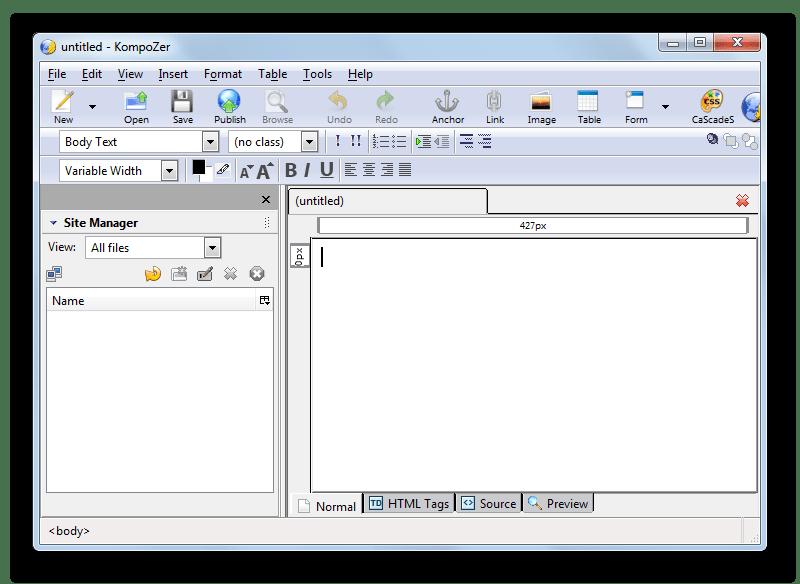 Интерфейс визуального HTML-редактора Kompozer