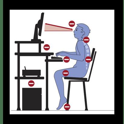 Неправильное расположение компьютерной техники на рабочем столе
