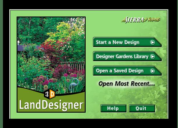 Окно приветствия Sierra LandDesigner 3D