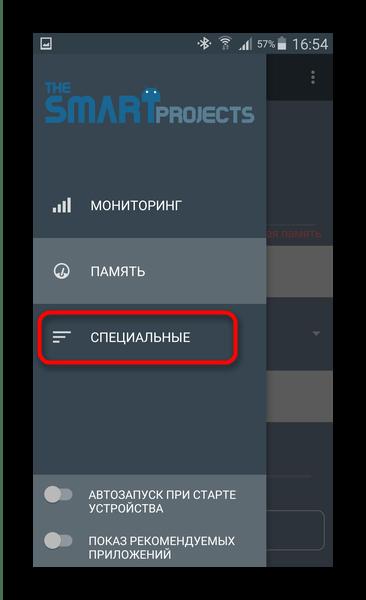 Опция Специальные в главном меню RAM Manager