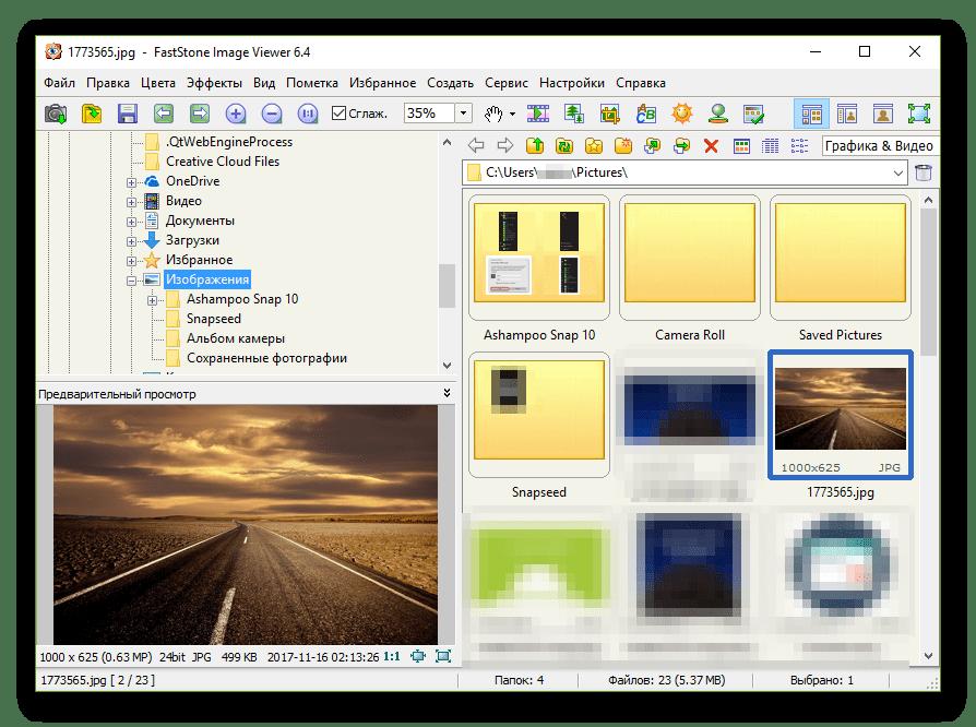 Основное окно программы FastStone Image Viewer