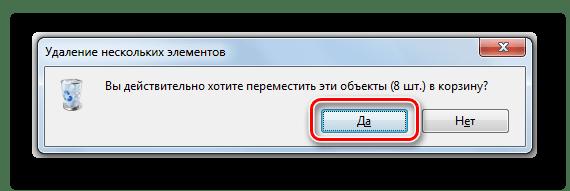Подтверждение удаления содержимого папки SoftwareDistribution в диалоговом окне в Windows 7
