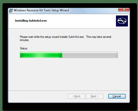 Процедура инсталляции в окне Мастера установки утилиты SubInACL в Windows 7