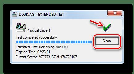 Процедура тестирования Extended test жесткого диска закончилась удачно в окне программы Western Digital Data Lifeguard Diagnostic