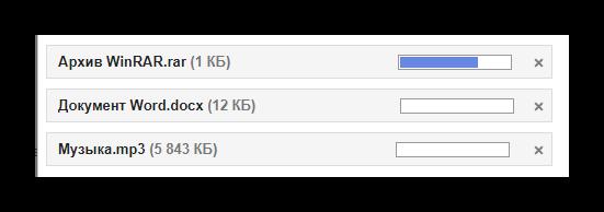 Процесс выгрузки файлов с ПК в письмо на сайте сервиса Gmail
