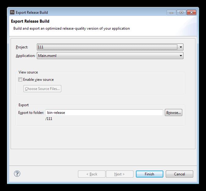 Публикация исходного кода в программе Adobe Flash Builder
