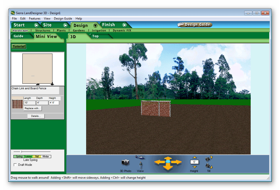 Рабочая область Sierra LandDesigner 3D