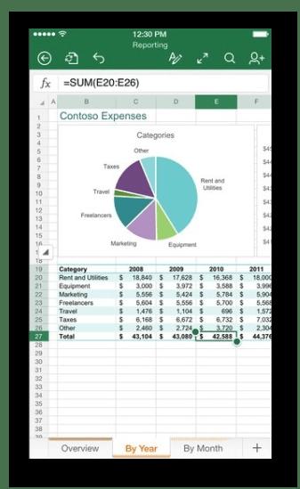 Работа с таблицами в мобильном приложении Microsoft Excel