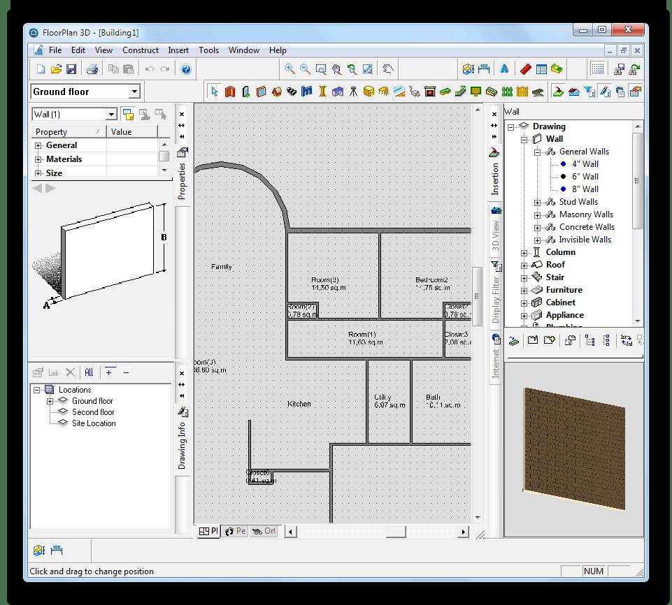 Работа в Floorplan 3D